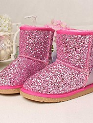 Girls' Shoes Dress / Casual Platform Snow Boots Comfort Round Toe Leather  Glitter Boots More Colors Available