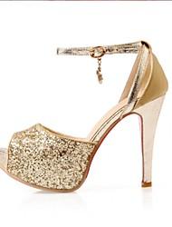 Women's Shoes Glitter Stiletto Heel Heels / Peep Toe / Platform Heels Wedding / Party & Evening / Casual Black