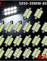 20 x 39mm blanc 5050 8SMD Festoon dôme carte intérieur LED ampoules de3423 6418