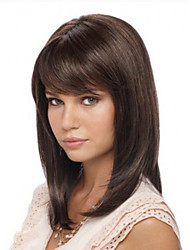 Popular Clip in Synthetic Bang with Side Bang Chestnut Brown Color