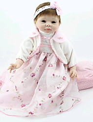 NPKDOLL Reborn Baby Doll Soft Silicone 22inch 55cm Magnetic Mouth Lovely Lifelike Cute Boy Girl Toy White Princess