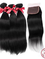 Trame cheveux avec fermeture Cheveux Malaisiens Droit 12 mois tissages de cheveux