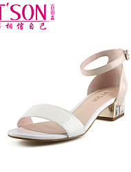 PT'SON Women's Patent Leather Chunky Heel Sandals White