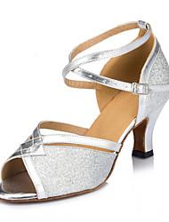Non Customizable Women's Dance Shoes Sparkling Glitter / Paillette Sparkling Glitter / Paillette Latin Heels Cuban HeelIndoor /