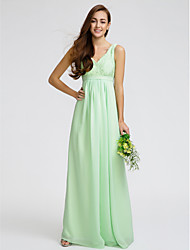 Lanting Bride® Floor-length Chiffon / Lace Bridesmaid Dress - Sheath / Column V-neck with Lace / Sash / Ribbon