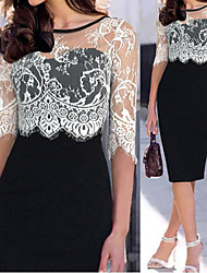 MAKE  Women's Patchwork / Lace Black Dresses , Vintage / Sexy / Bodycon / Party Round ½ Length Sleeve