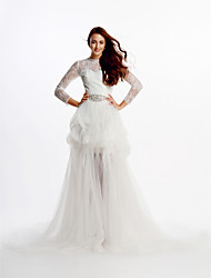 A-line Wedding Dress Two-In-One Wedding Dresses Cathedral Train Jewel Lace / Tulle with Crystal / Lace
