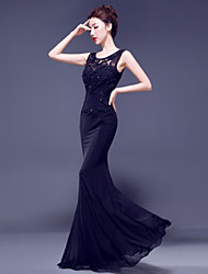 Formal Evening Dress - Ruby / Royal Blue / Dark Navy / Black Trumpet/Mermaid Jewel Floor-length Lace / Jersey