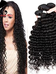 4bundles cabelo humano profundo onda cabelo malaio 8-26inch cor natural virgem tece