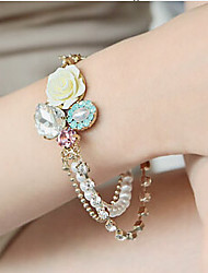 Fashion Jewelry Fresh Crystal Rose Pearl Bracelet