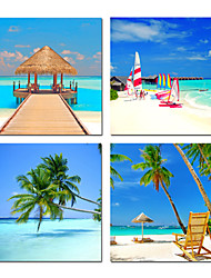 VISUAL STAR®Colorful Beach Scenery Canvas Prints Wall Art - Seascape Picture Print on Canvas for Home Ready to Hang