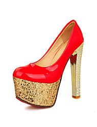 Calçados Femininos - Saltos - Saltos - Salto Agulha - Preto / Vermelho / Branco - PVC / Courino -Casamento / Escritório & Trabalho /