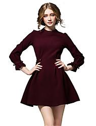 De las mujeres Línea A Vestido Para Trabajo / Casual / Bonito Un Color Mini Escote Chino Algodón / Poliéster