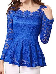 Women's Lace Plus Sizes Micro-elastic Falbala Hem Long Sleeve  Blouse (Lace)