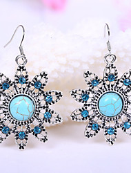 HUALUO®Sunflower Turquoise Rhinestone Earrings Ring