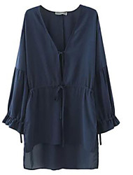 Women's Solid Blue Blouse , V Neck Long Sleeve