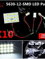 10x белый 5630 12 SMD панель на карте купол свет в салоне + гирлянда адаптер T10 BA9S