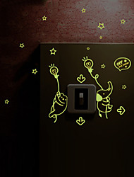 Luminous Wall Stickers Wall Decals Style Bear Elephant Lamp Switch Waterproof Removable PVC Wall Stickers