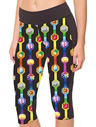 Yoga Pants 3/4 calças justas Compressão Natural Stretchy Wear Sports Preto Unissexo Outros Ioga / Fitness