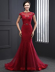 Formal Evening Dress Trumpet / Mermaid Jewel Court Train Lace / Tulle with Beading