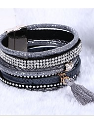 leather Charm BraceletsCrystal Cuff Leather Rhinestone Slake Crystal Bohemian style Bracelet wra Jewelry Christmas Gifts