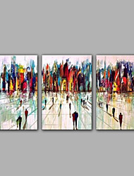 3-Sets Oil Painting Modern Abstract City Building Design with Good Quality Cheap Price