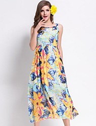 Women's Beach Strap Sleeveless Print Behomia Dress