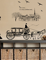 Wall Stickers Wall Decals Style Carriage Creative Street Lamp Waterproof Removable PVC Wall Stickers