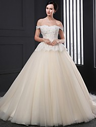 Ball Gown Wedding Dress - Champagne Court Train Strapless Tulle