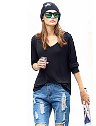 S.M.H    Women's Solid Color Black T-Shirts , Casual V-Neck Long Sleeve