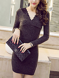Women's Lace Gray Dress , Sexy / Bodycon V Neck Long Sleeve
