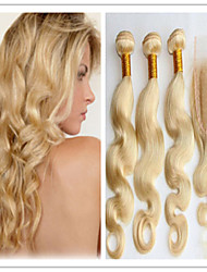 4Pcs/Lot #613 Blonde Color Hair Weft Brazilian Body Wave Hair Extension With Top Lace Closure 100% Human Hair