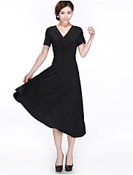 Women's Solid Color Black Dresses , Casual V-Neck Short Sleeve