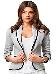 Women's Solid Black / Gray Jackets Asymmetrical Long Sleeve