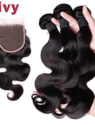 """Vivy 8 """"-30"""" 3 пучки с закрытием шнурок бразильские волосы ткать пучков с закрытием закрытие 4x4 бразильский Реми волос"""