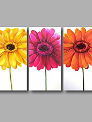"""Ready to Hang Hand-Painted Oil Painting Canvas Three Panels 48""""x32"""" Wall Art Contempory Abstract Orange Yellow Pink"""