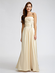 LAN TING BRIDE Floor-length Strapless Bridesmaid Dress - Elegant Sleeveless Satin