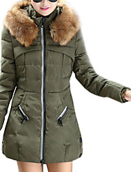 Women's Winter Fur Hoodies Long Sleeve Zipper Down Coat , Casual/Work