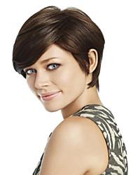 alta calidad y el precio más barato oscuro peluca corta syntheic marrón