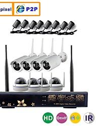 8ch 960p / 720p 5.8G megapixel HD trasmissione wireless kit telecamera IP NVR