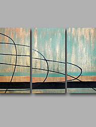 """Ready to Hang Hand-Painted Oil Painting Canvas Three Panels 48""""x32"""" Wall Art Modern Abstract Light Blue"""