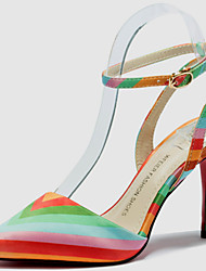 Women's Shoes Synthetic / Lace / Silk Stiletto Heel Heels Heels Party & Evening/Dress/Casual Black/Red/Multi-color