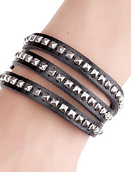 Square Rivet Long Band Cutting Leather Bracelets