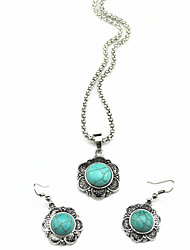 Vintage Look Antique Silver Flower Turquoise Stone Small Necklace Earring Jewelry Set(1Set)
