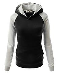 Sweat à capuche Femme Décontracté / Quotidien simple Couleur Pleine Micro-élastique Coton Manches Longues Automne