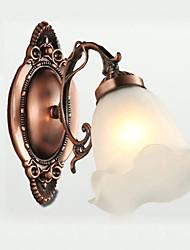 25*22CM Retro Glass Simple European Modern Elegance, Wrought Iron Wall Lamp LED Light