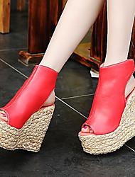 Women's Shoes Leatherette Wedge Heel Wedges / Peep Toe Sandals Office & Career / Dress / Blue / Red / Orange