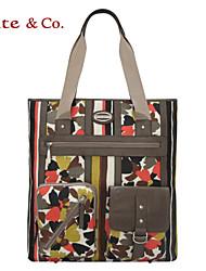 Kate & Co.® Women Cowhide / Canvas Shoulder Bag Brown - TH-02215