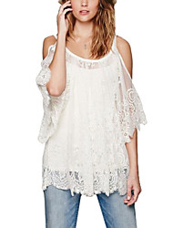 Women's White Strap Lace Shirt, Lace/Cotton Blends Short Sleeve