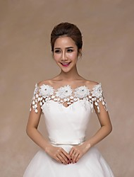 Wedding  Wraps Collars Sleeveless Lace Ivory Wedding Appliques / Pearls